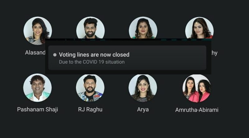 Eleventh week voting closed due to COVID19 Bigg Boss Malayalam season 2