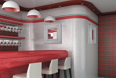 мозаика в интерьере бара