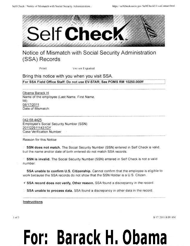 Obama Fails Self Check