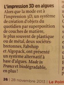 Article du Point ( Novembre 2013) à propos de nouvelles matières premières pour imprimantes 3D