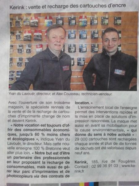 KERink, rue de Fougères, le 4 ème magasin à Rennes de recharge de cartouches d'encre