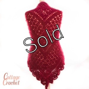 Crimson Fluffy Shawl, sold