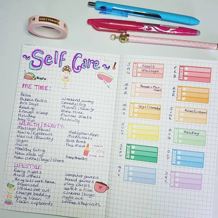 bullet journal page ideas, bullet journal weekly spread, Bujo self care spread ideas and free printable in my Bullet Journal to help remind me to make time for at least 3 self care things for myself a month, includes a free self care printable tracker #bulletjournal #selfcare #bujoselfcare Kerrymay._.Makes