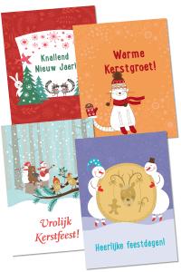 4 Wenskaarten met Kerstspellen uit het Kerst met Ballenspel