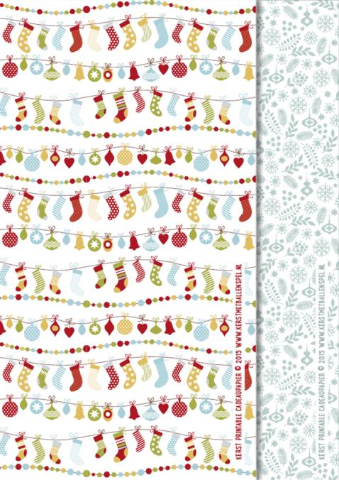 2x Kerst Cadeaupapier printables