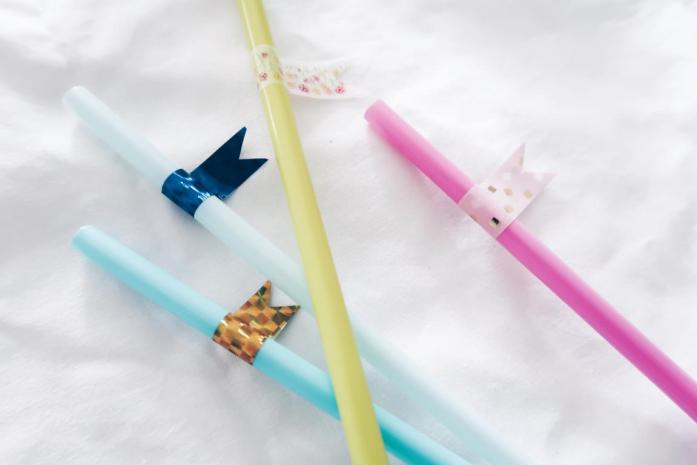 10 DIY Ideen Washi Tape - Strohhalm Trinkhalm mit Markierung Namen