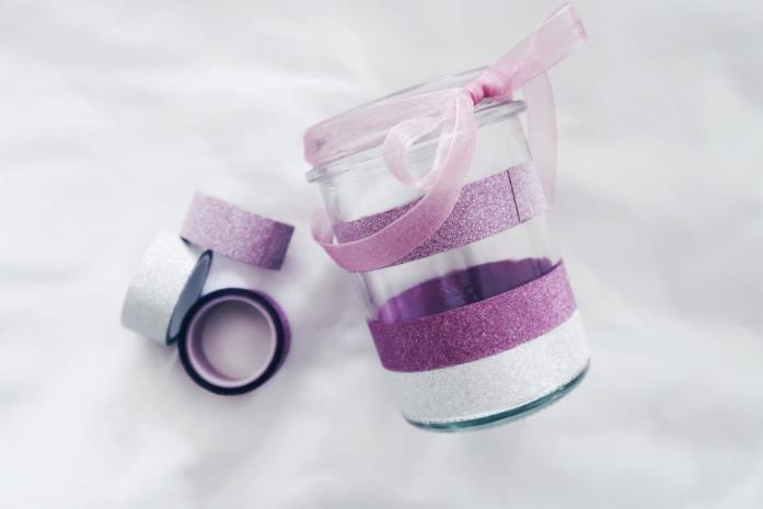 10 DIY Ideen Washi Tape - Glas Vase Schüssel Einmachglas Geschenkidee