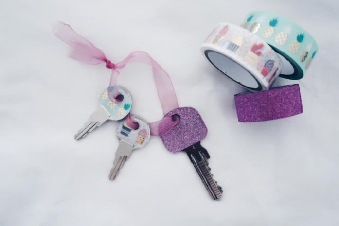 10 DIY Ideen Washi Tape - Schlüssel dekorieren verzieren verschönern