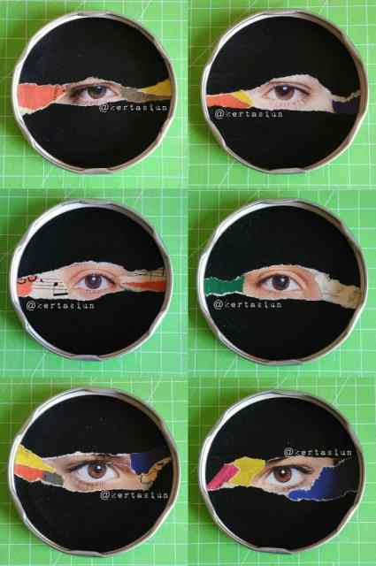 Six paper collages on metal jar lid with scrap images of eyes