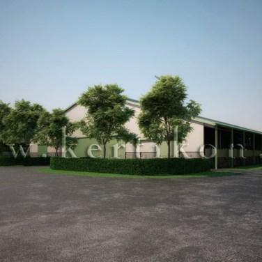 3D látványrajz, kertépítészeti koncepcióterv - új istálló épület előkert kialakítási terve, számítógépes modell, Mezőhegyes