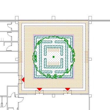 Kertépítészeti engedélyezési terv, telephely parkosítás; belső kert és átrium udvar terve