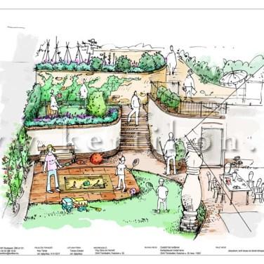 Kerti látványrajz - családi ház kert, teraszok