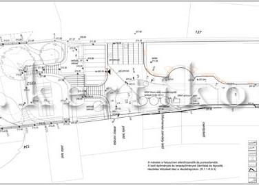 Kitűzési terv - családi ház kert tervezés lejtős terepen