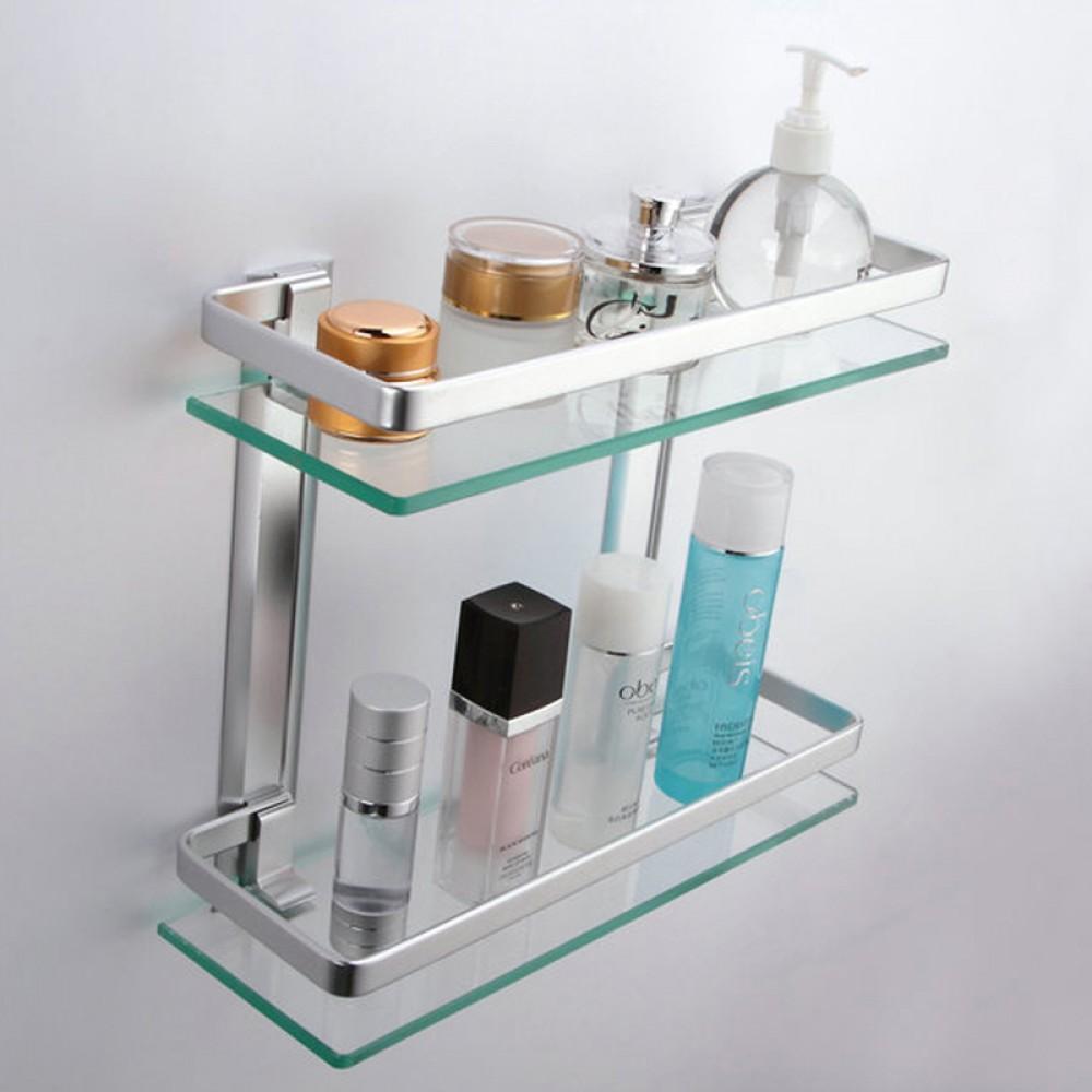 kes bathroom 2 tier glass shelf with