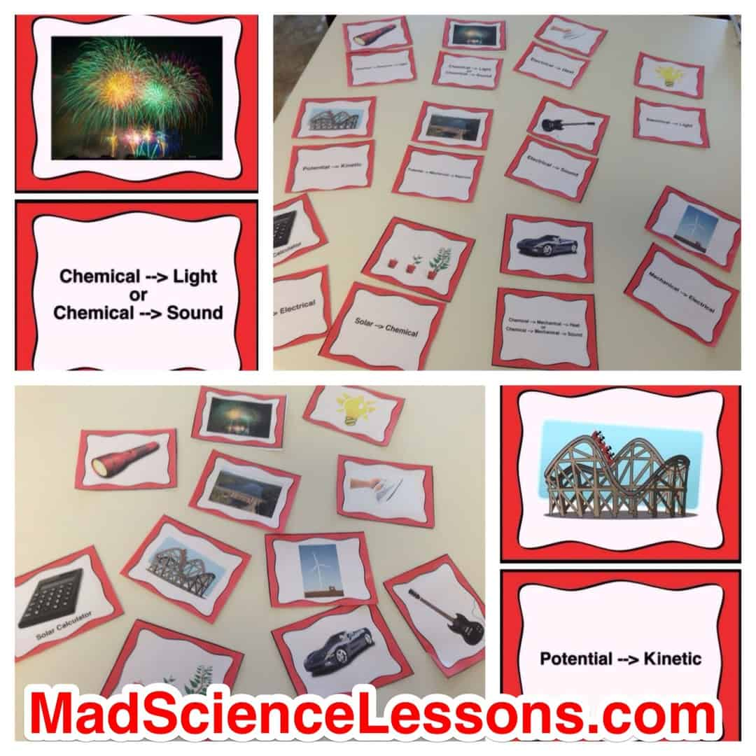 Energy Transformations Card Sort Activity Or Lab Station