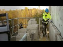 Scanclimber SC8000 mast climber at bricklaying & masonry work – increased ergonomics & productivity