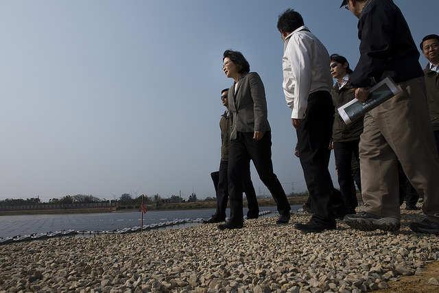 Tsai surveying infrastructure project (Presidential Officer Flickr, CC BY 2.0)