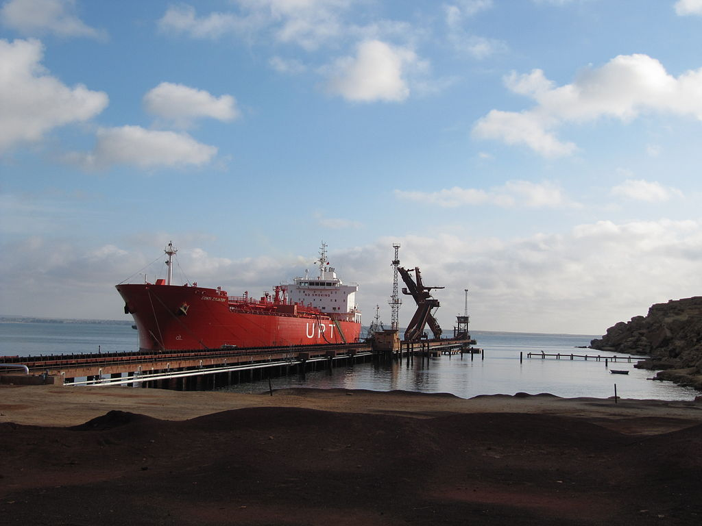 Ship loading in Angola