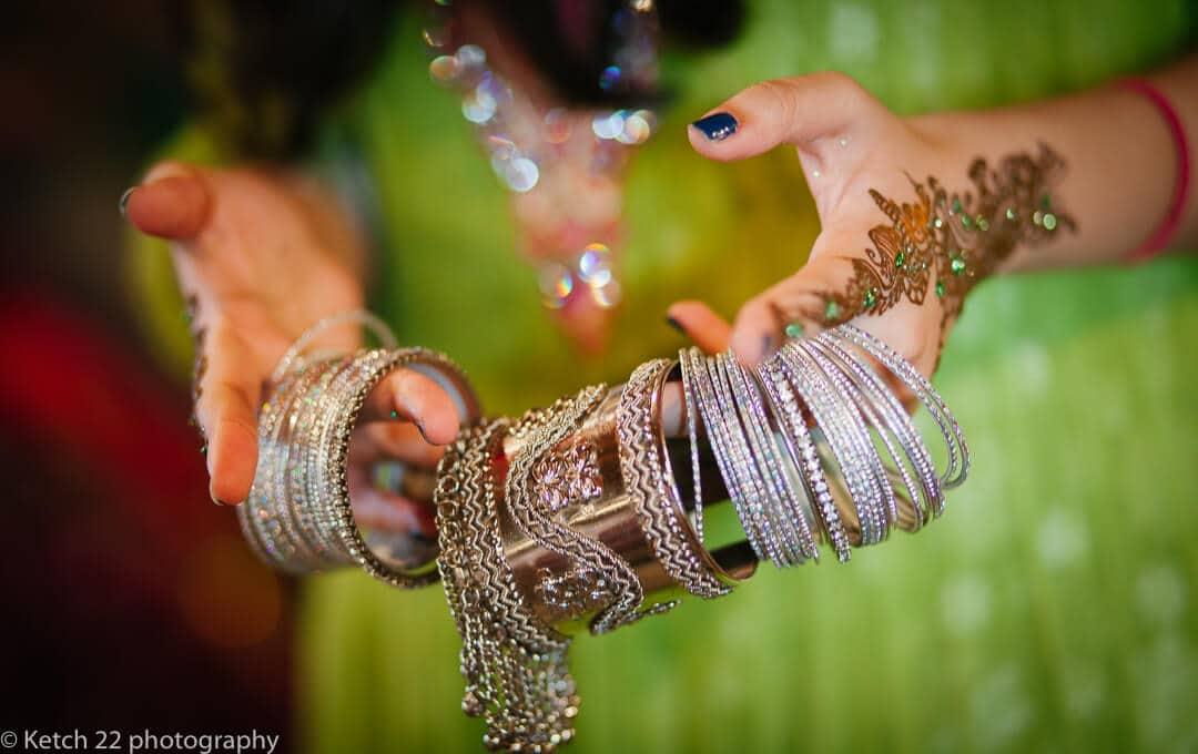 Beautiful Indian bracelets at indian Mehendi and sangeet night