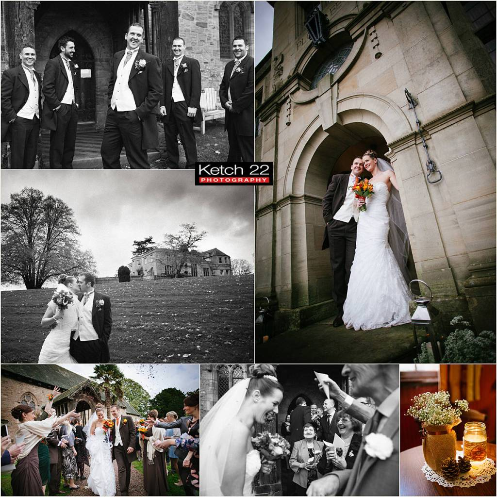 portrait of bride and groom at Burton Court wedding Herefordshire