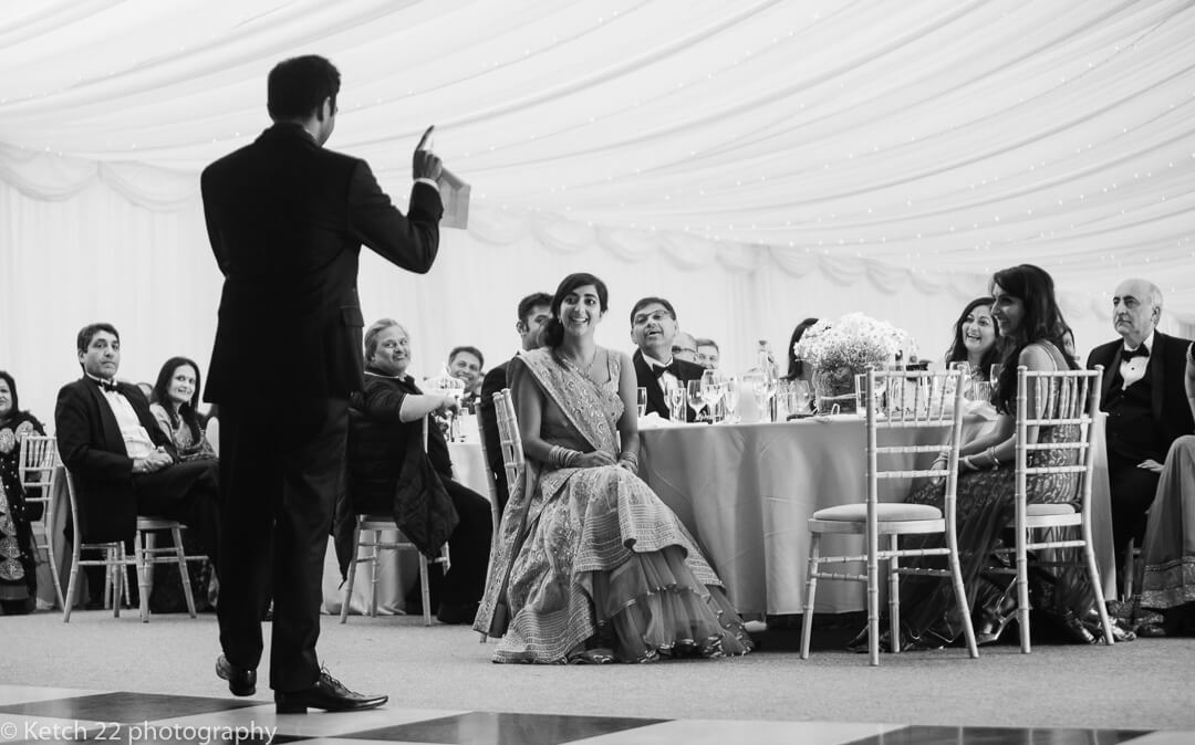 Groom making speech at Hindu wedding