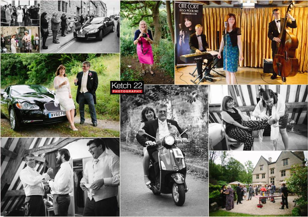 Egypt Mill weddings with bride and groom on a scooter Gloucestershire