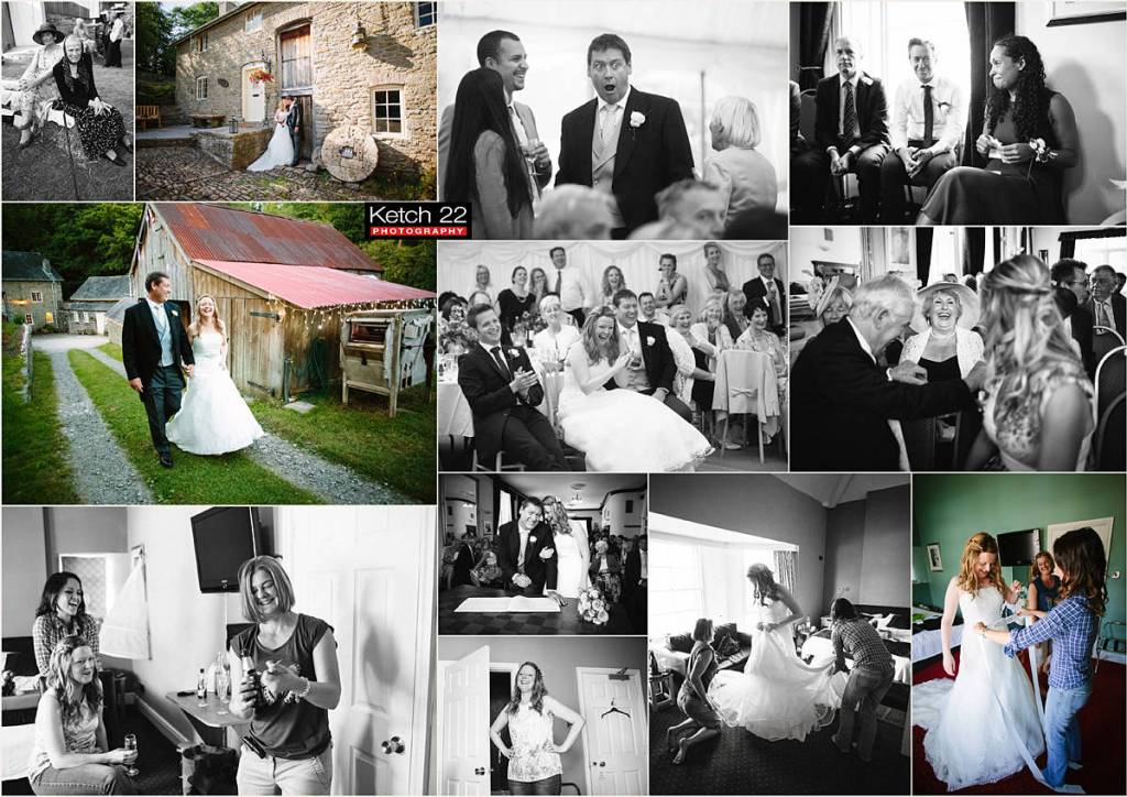 amazing Powys wedding with bride, groom and guests