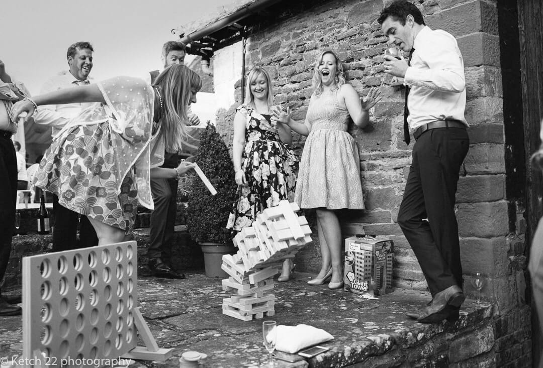 Wedding guests playing games at Herefordshire wedding