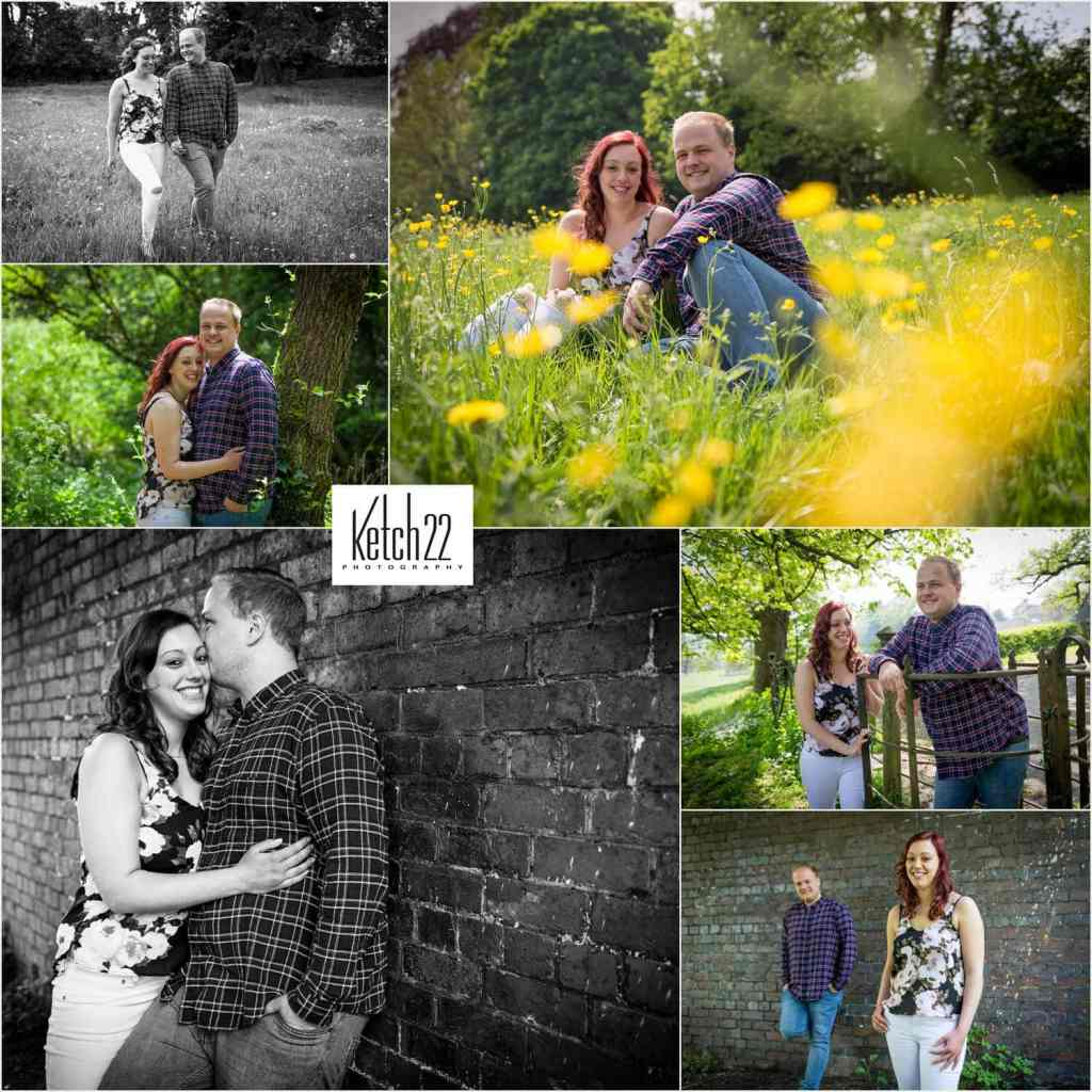 Engagement photography Stroud with young couple in field of buttercups