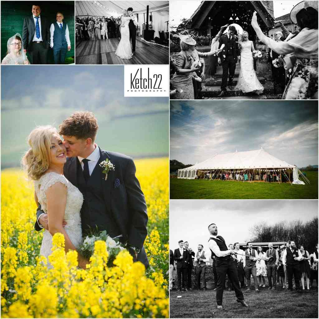 Wedding photography Powys featuring bride and groom in field of flowers