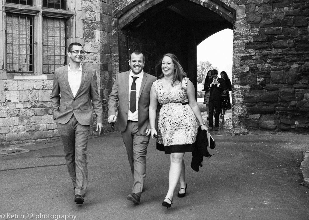 Wedding guests arriving at Berkeley Castle