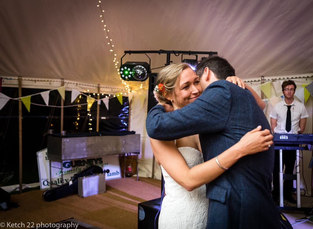 First dance with bride and groom at Painswick wedding