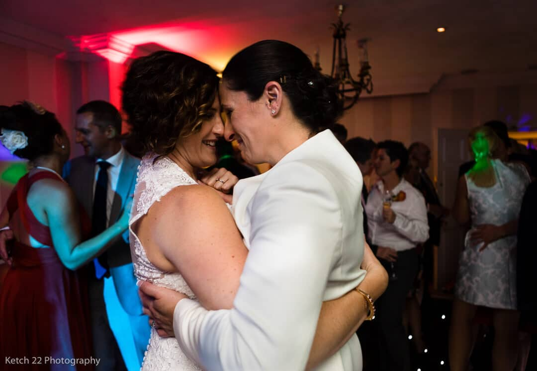 Newly weds enjoy the first dance at Lords of the Manor