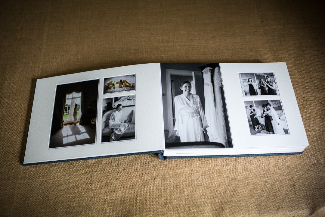 Double page spread of wedding album