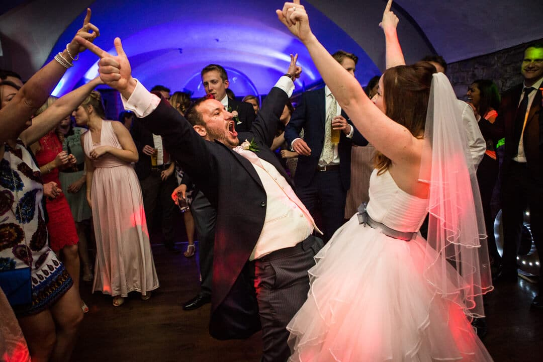 Bride and groom go crazy at first dance at Clearwell Castle wedding