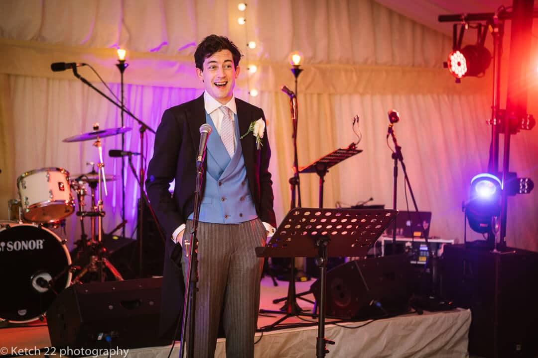Groom making speech at wedding in Oxfordshire