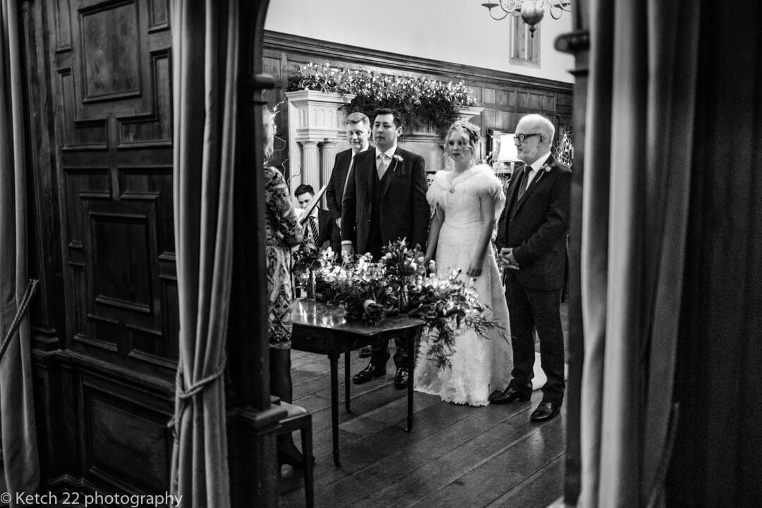 Photojournalistic wedding photo of wedding ceremony in Somerset