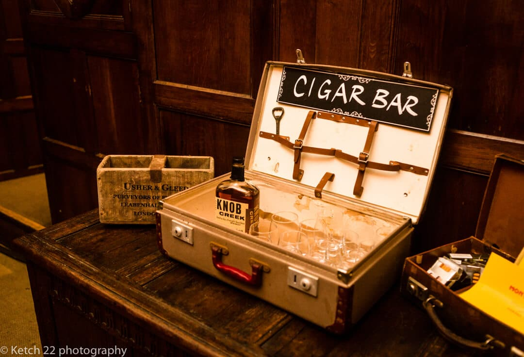The cigar bar at Country house wedding