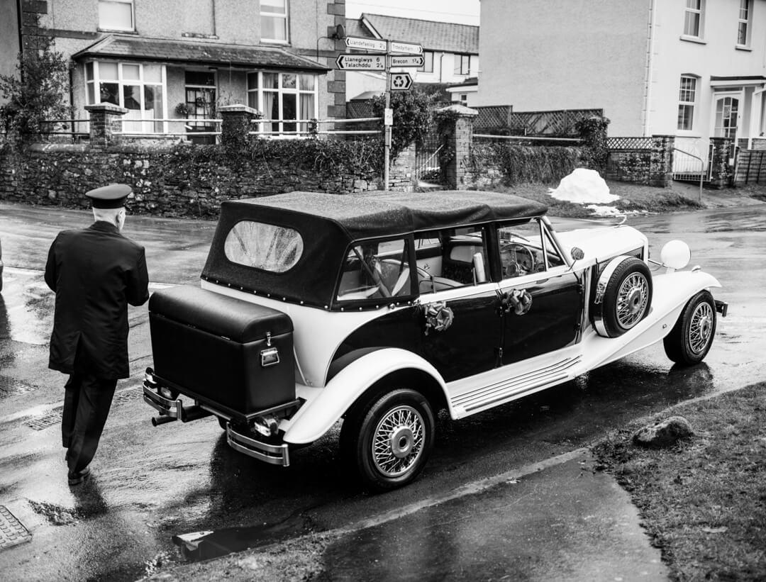 Wedding car and chaffuer