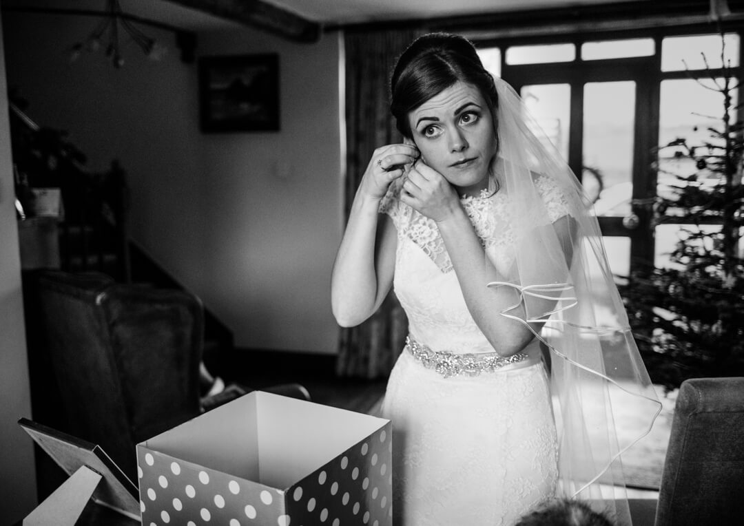 Bride getting ready at Winter Welsh wedding