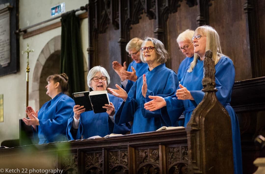 Choir singers in blue at Church wedding