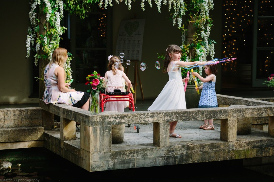 Kids playing with bubbles at Matara Centre Wedding