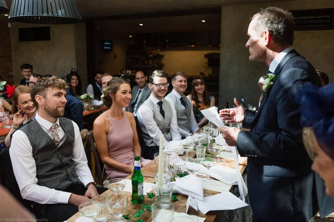 Dad making wedding speech
