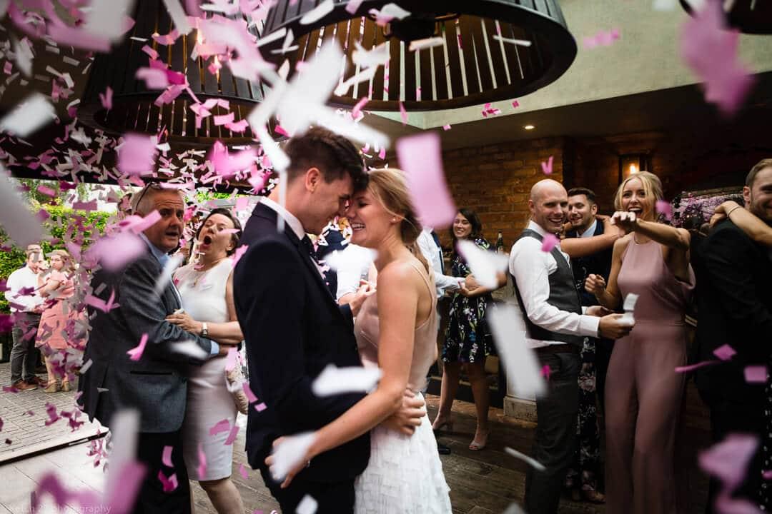 First dance with confetti at No 38 wedding Cheltenham