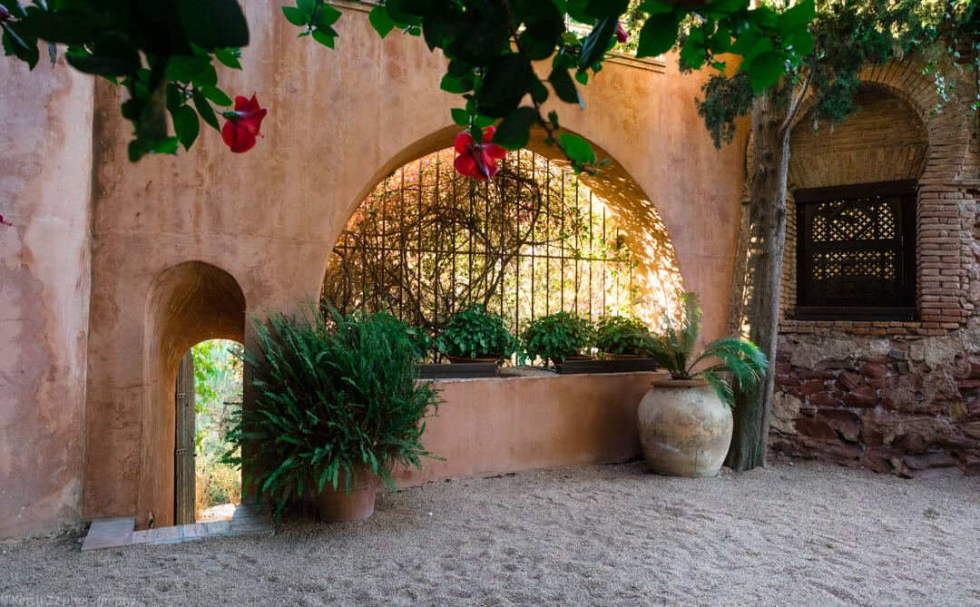 Beautiful moorish garden details at Castillo de Santa Catalina wedding venue