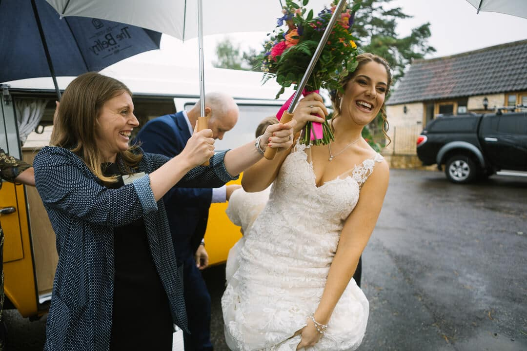 Bride arrives at Gloucestershire Wedding