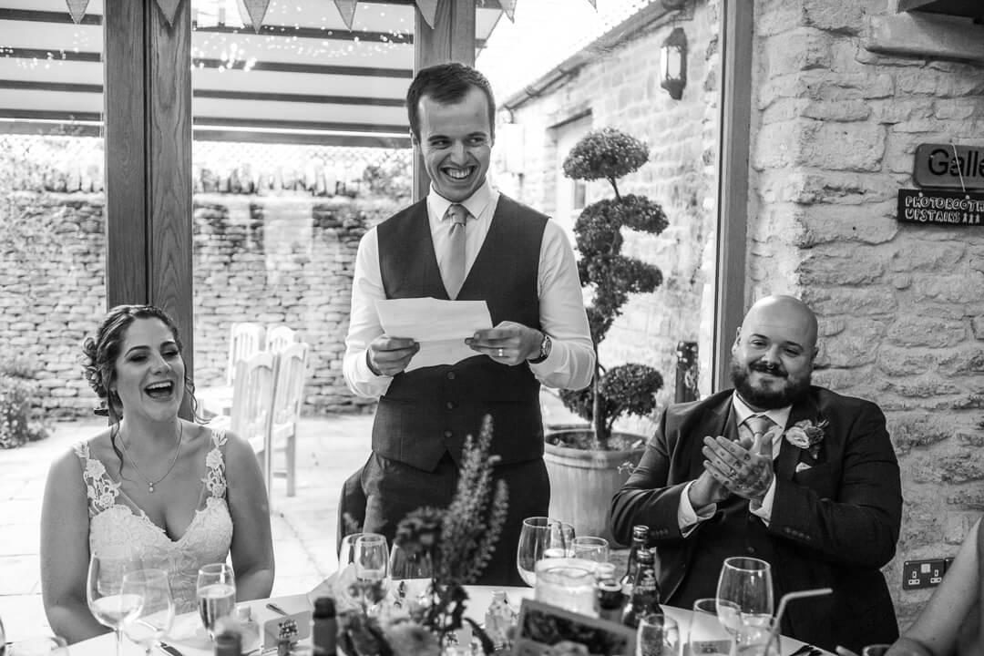 Groom making a wedding speech
