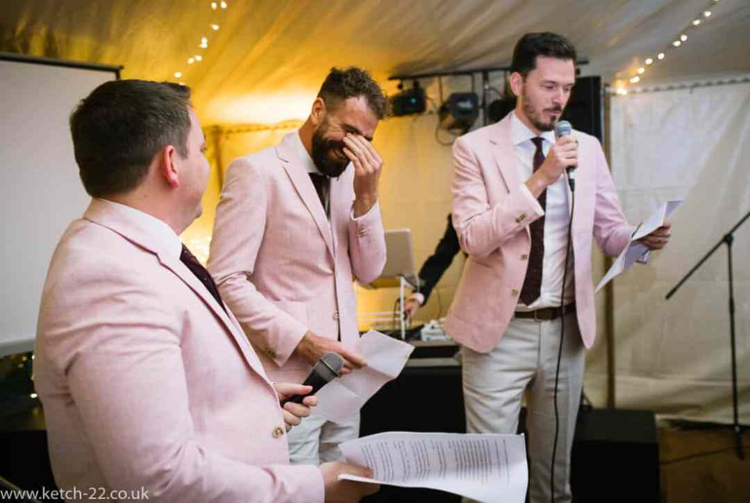 Best men making speechs at Winchcombe wedding