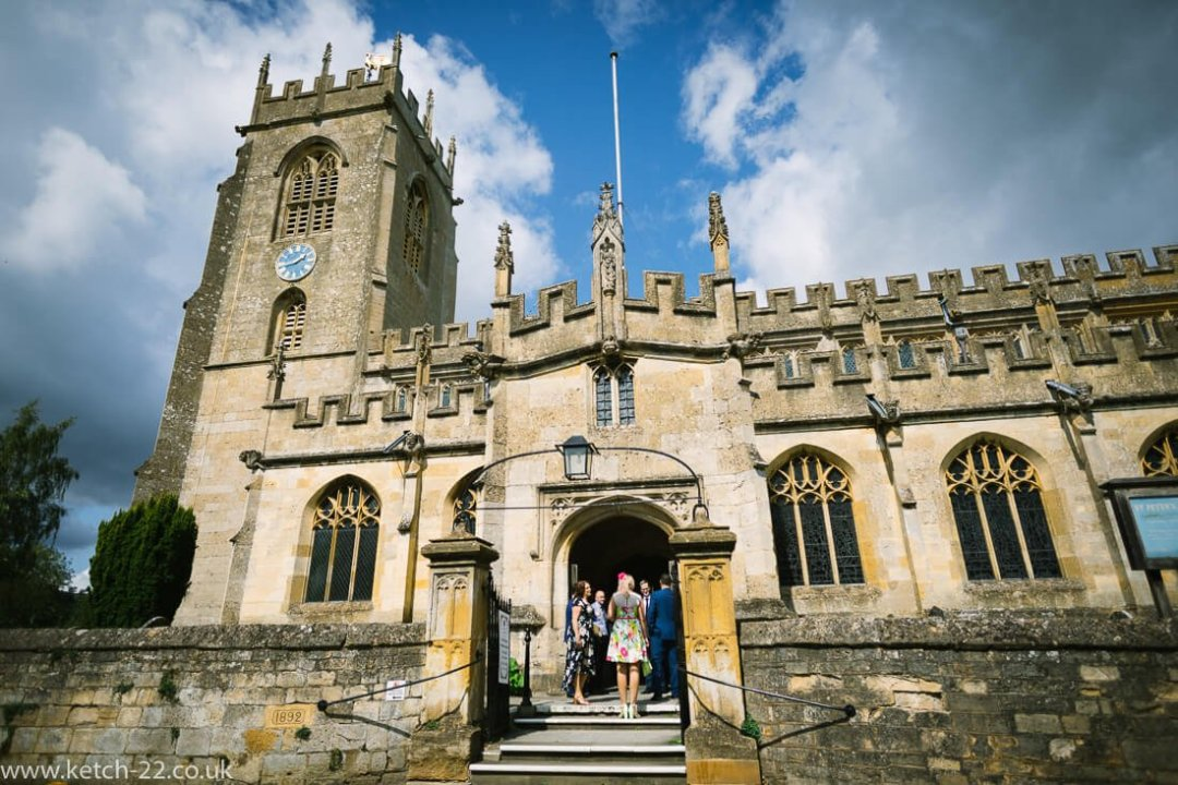 View of Winchcombe church just prior to wedding ceremony