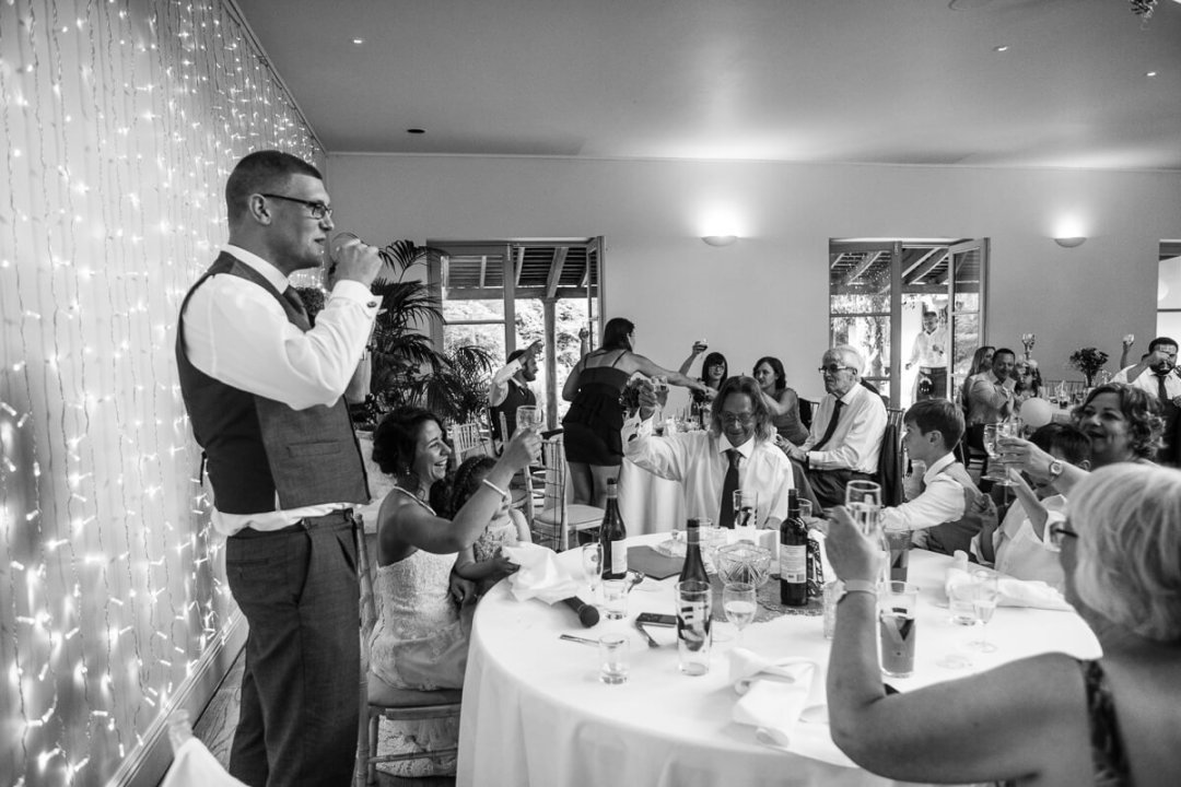 Groom making wedding speech